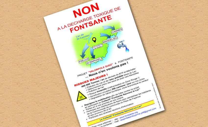 Distribution de flyers contre le stockage des déchets à Fontsante