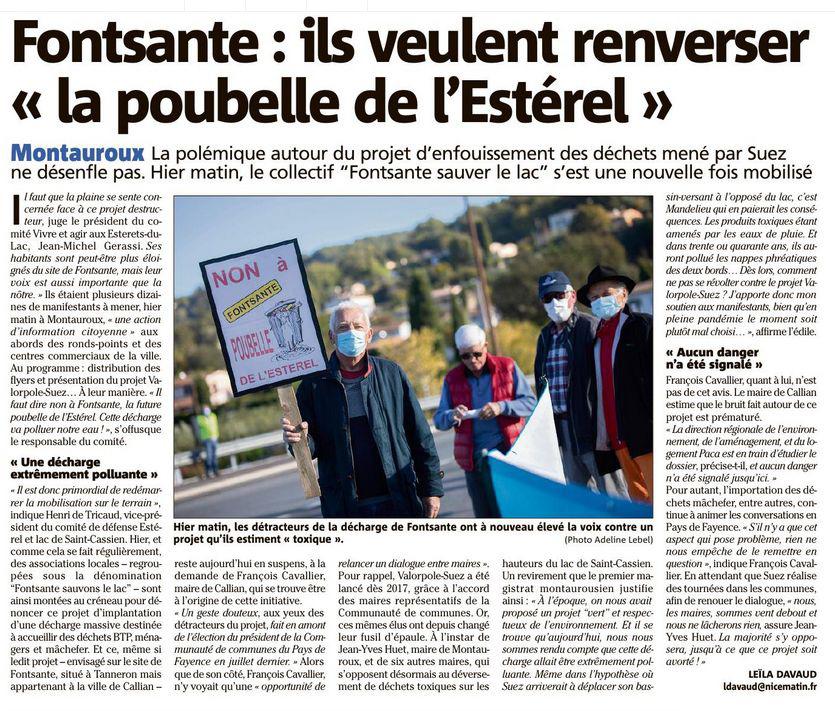 Article Var Matin - Montauroux - Fonsante - Défense lac de Saint Cassien